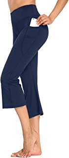 Sobrisah Women's Yoga Bootcut Pants with Pockets Flare Capris High Waist Legging Pants for Workout Jogging Lounge Work