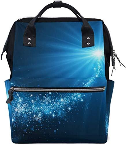 UUwant Sac à Dos à Couches pour Maman Large Capacity Diaper Backpack Travel Manager Baby Care Replacement Bag Nappy Bags Mummy Backpack Bright Snowflakes School Bag