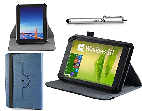 Navitech Blue Leather Case Cover 360 Rotational Stand Atlas Stylus Compatible The Alba 10 Inch 16GB Tablet