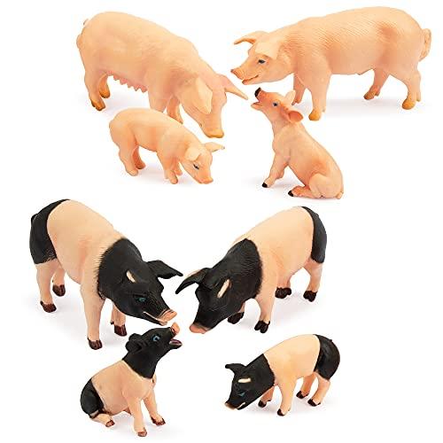 TOYMANY 8PCS Pig Figures Farm Animals Toy Figures  Plastic Play Farm Animal Figurines for Toddlers Kids Boys Girls