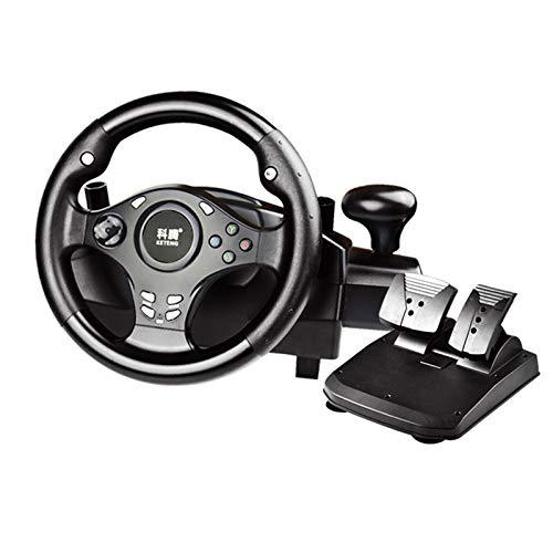 MXMYFZ Juegos de Carreras Volante con Pedal, Vibraciones USB PC Vibraciones Dirección de Juego de automóviles, Compatible con PC / PS3 / PS4 / XB-OX One/NS Switch