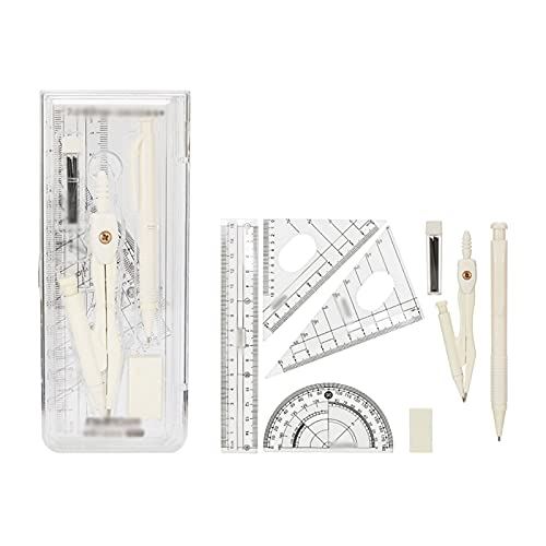 XIAOSAKU Math Geometry Kit Set Sets 8 Piece Student Supplies with Rulers Protractor Compass Eraser Lead Refills Pencil for Drafting and Drawings for Drafting and Drawings (Color : C)