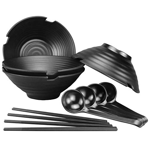 4 Sets (12 Pieces) Japanese Noodle Soup Bowls, 35 Ounce/1000ml Large Ramen Bowls with Spoon and Chopsticks, Dishwasher Safe Melamine Dishware Set, for Udon, Asian Noodles, Salad and Pasta, Black