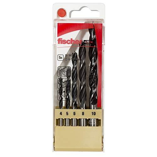 fischer - Estuche brocas madera 4-10mm, brocas para madera, set de 5 piezas, broca profesional, Estuche de 5 uds.