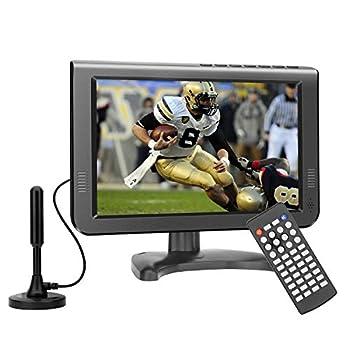 10.6inch Battery TV Support/car/Travel/Hurricane/Mini ATSC Digital TV and Play USB/TF Card/AV in/Remote Control Function Black