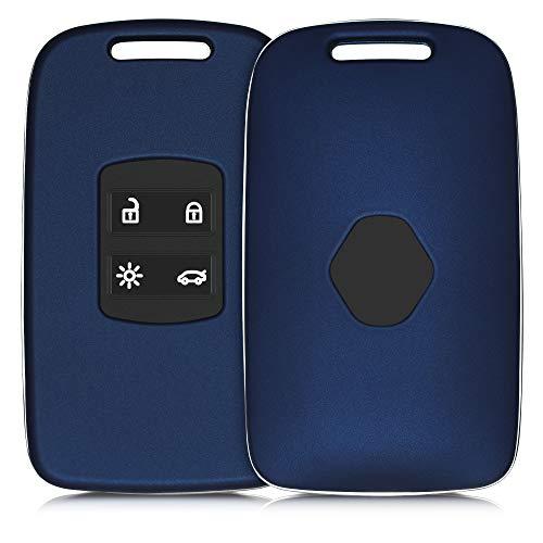 kwmobile Funda Compatible con Renault Llave de Coche Smart Key de 4 Botones (Solo Keyless Go) - Carcasa Dura para Llave de Coche Mando de Auto - en Azul Oscuro