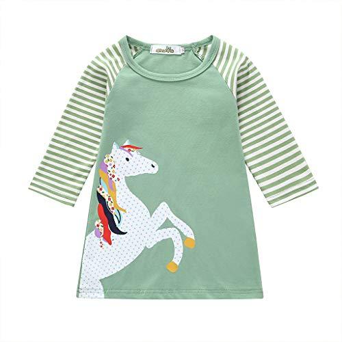 HEETEY Mädchen Kleid Rock Outfits Kleinkind-Baby-Kinderkarikatur-Kleidung Pferdestreifen Print Princess Party Dress Langärmliges Kleid mit Pony-Print