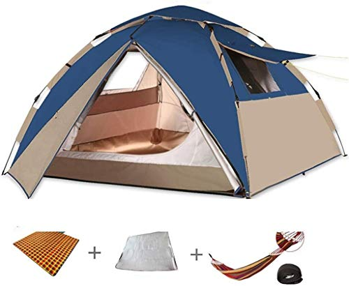 LAZ Dome Tents 4 People, Automatic Double-Layer Pop-Up Tents, Outdoor Camping Tents, Mountaineering Tunnel Tents with Storage Bag, Picnic Four Seasons Beach Tent (Color : Blue, Size : A)