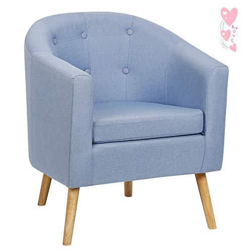 YIZHE Sillón Relax,Sofa Individual de una Plaza, Sillon Descanso una 1 Persona, butaca acabada en Tejido Color Azul, Patas de Madera Color Haya,Sillón Nórdico Escandinavo Medidas: 64 * 60 * 70cm