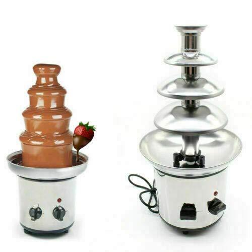 Fontana di cioccolato in acciaio inox con funzione di mantenimento in caldo 4 piani 170 Watt per fonduta di cioccolato...
