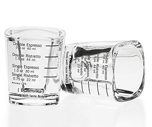 BCnmviku - Vaso de chupito con escala, 60 ml, resistente al lavavajillas, cristal para líquidos y materiales secos