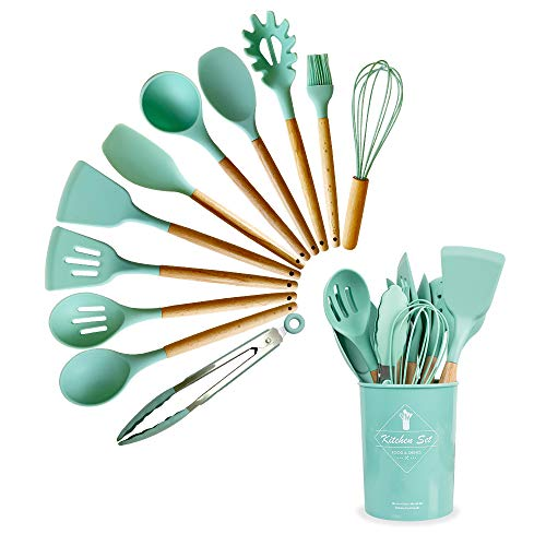 Queta 11pcs Silicone Cooking Utensil Set,Bpa Free Non-Stick Silicone Cooking Kitchen Utensils with Wooden Handle,Heat Resistant Kitchen Gadgets Utensil Set with a Storage Bucket