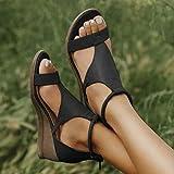 Women's Platform Sandals New 2021 T-Strap Block Heel Sandals with Zipper Vintage Beach Sandals Ladies Walking Shoes,Heeled Ankle Wedge Ankle Strap Open Toe Sandals (Black, EUR 37/USA 6)