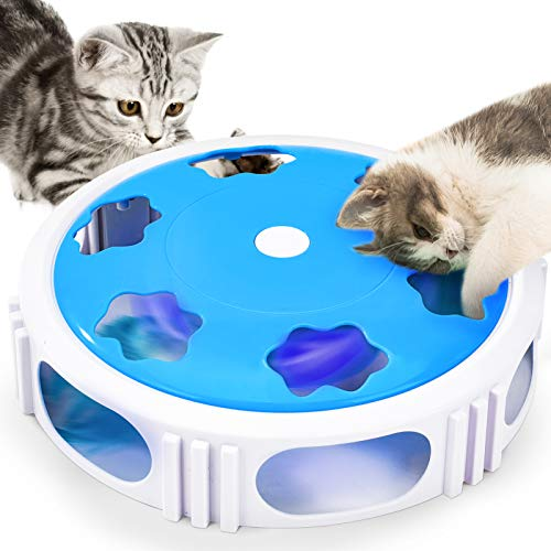 Dreamon Katzen Spielzeug Elektrisch, Interaktive Katzen Spiele mit Feder, Automatisch Rotieren Intelligenzspielzeug, Geschenk für Katze