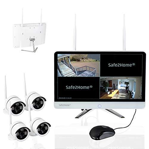 Safe2Home Funk Überwachungskamera Set deutsch 4X Full HD Cam Nachtsicht – Kamera Set Monitor Rekorder Videoüberwachung kabellos innen außen Kameras