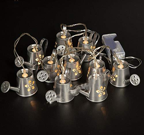 Fee Lampe, Silber Schmiedeeisen Gießkanne Lampe, Gartendekoration (L) 80X (B) 52 (H) 43 mm Weiß