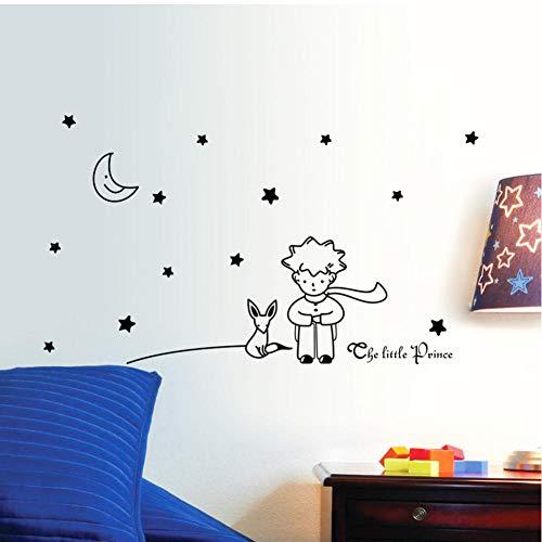 Libro Popular cuento de hadas El Principito con Fox Moon Star pegatinas de pared para habitaciones de niños decoración del hogar regalo calcomanías de vinilo de juguete 19x42cm
