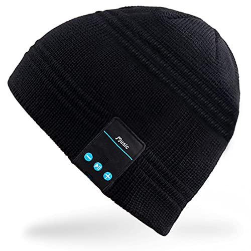 Mydeal Wireless Bluetooth Headset Music Audio Beanie Hat Cap for Women Men with Speaker & Microphone Hands Free for Running Sports,Compatible with Iphone 6s/6 plus,Samsung,Best Christmas Gifts -Black