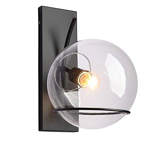 KMYX Moderne Bubble Glass Ball Wandleuchte Vintage Black Thick Painted Eisenindustrie Wandleuchte Wandlampen für Restaurant Bar Wohnzimmer Gang Weinkeller Barn