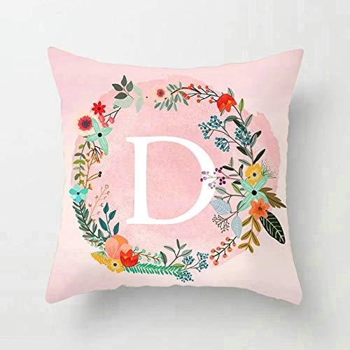 Socoz Fundas de cojín para sofá, fundas decorativas de 50 x 50 cm, fundas decorativas rectangulares, corona inglesa, letra D estilo 4