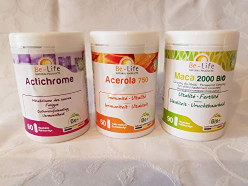 Box Vitalite = 1 Aktivkohle + 1 Acerola 750 + 1 Maca 2000 Bio BE-LIFE – Behandlung 2 Monate