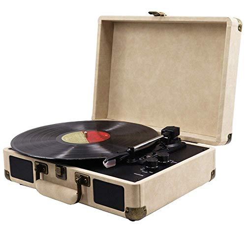 KSW_KKW Bluetooth Plattenspieler Riemenantrieb 3-Gang Plattenspieler eingebaute Stereo-Lautsprecher, Vinyl auf USB-Stick, Retro Koffer entworfen