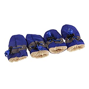 GabeFish Slightly Water-Resistance Anti Slip Dog Socks Shoes Adjustable Drawstring Boot Paw Protectors for Small Medium Pets Cats Blue/Thick Small