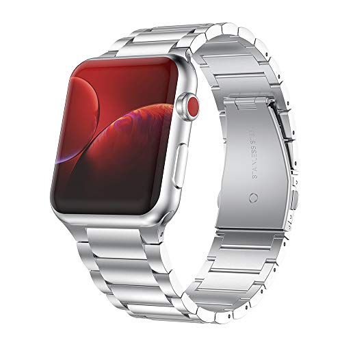 NotoCity Metal Correa para Apple Watch Series 1/2/3/4/5, Acero Inoxidable Correa 38/40/42/44 mm(Plata, L)