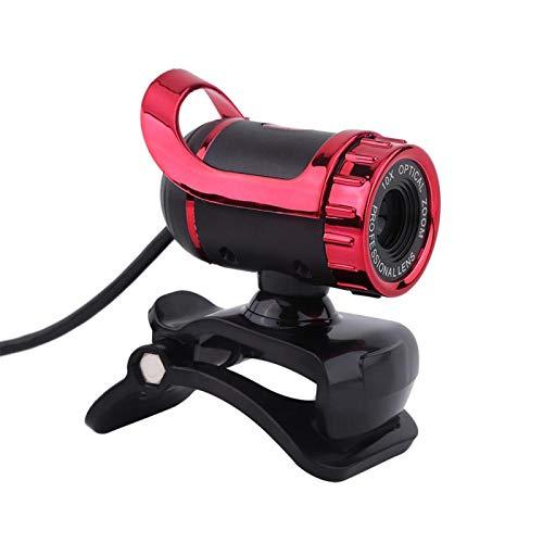 Lazmin112 Computadora Cámara Webcam, USB 2.0 0.3M Píxeles Cámara Web con Clip Cámara Web HD Soporte Giratorio De 360 ° Lente óptica De Alto Nivel Micrófono Incorporado(Rojo)