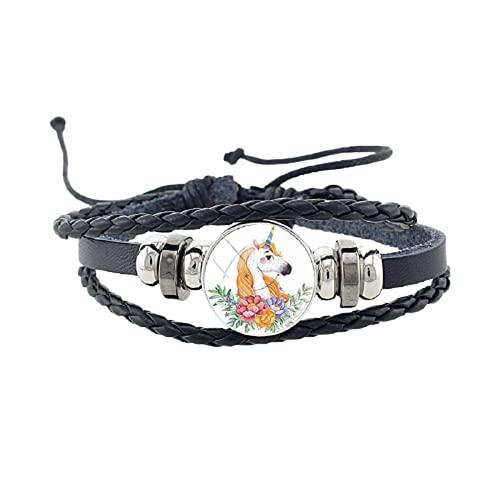 Pulsera colorida de piel con diseño de caballo de unicornio y flor redonda con forma de cúpula de cristal, color negro