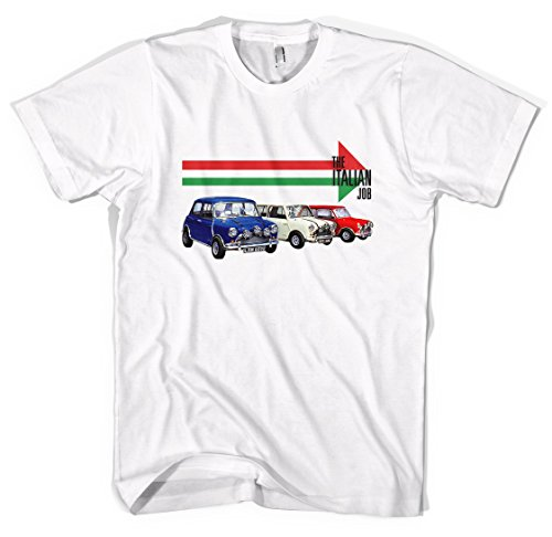 The Italian Job Mini Cooper – Camiseta unisex, Blanco, X-Large