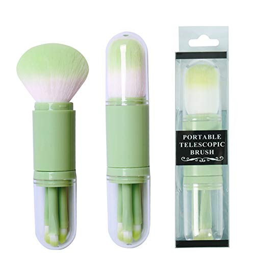 Pannow 4 in 1 Make-up Brush Set, Make-up Borstels voor Stichting Oogschaduw Wenkbrauw Eyeliner Blush Poeder Concealer Contour Groen