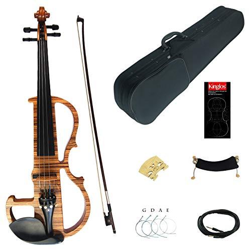 Kinglos 4/4 Colorato In Legno Massello Professionale Elettrica/Silenzioso Violino Kit Raccordi Ebano - MWDS1903