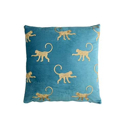 Samt Kissen 45x45cm Blau mit Bestickten Affen Muster AFFE Zierkissen Deko Sofa Wohndeko Textilien Tiere Gold Hellblau...