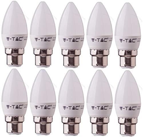 V-TAC LED 3 W B22 vela bombillas - PACK DE 10 bombillas - B22/BC/casquillo de bayoneta estándar accesorios - 3 W - blanco cálido 2700 K, 250 lm