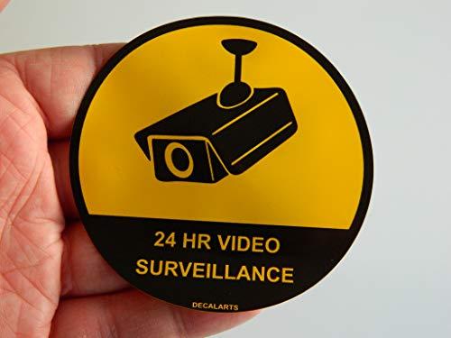CCTV 24h Überwachungsaufkleber aus PVC-Kunststoff, 80 mm im Durchmesser, für Shop CCTV