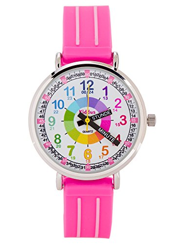 KIDDUS Lern Armbanduhr für Kinder, Jungen und Mädchen. Analoge Armbanduhr mit Zeitlernübungen, japanischen Quarzwerk, gut lesbar, um ganz leicht zu Lernen, die Uhr zu lesen. KI10306 Griffe