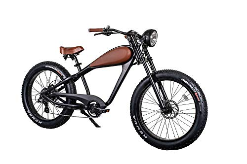 CIVIBIKES 48V 750W Bafang Vintage Electric Bike Fat Tire Cheetah Beach Cruiser Electric Bike (Black/BROWNLEATHER 17.5Ah)