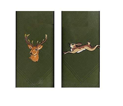 Twee 40 cm vierkante katoen geborduurd groene zakdoeken met hertenkop op One And A lopen haas op de andere