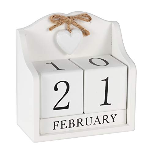 Obling Calendario Perpetuo di Legno Conversione Manuale Accessorio Chic Durevole per Casa o Ufficio (Bianco cremoso)