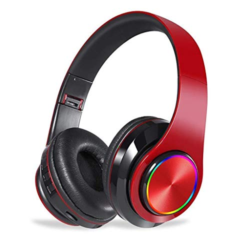 QCSMegy Auriculares LED Inalámbrica Bluetooth Plegable Auriculares con Micrófono Estéreo del Juego De Auriculares For El Juego/Tableta/PC (Color : Red)