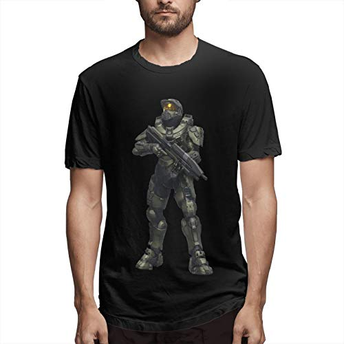 Fbxvdvdfcv Halo 4 100% Cotton Men's T-Shirts Quick Dry Delicate and Comfortable Sweat-Wicking and Quick-Drying Black XXL