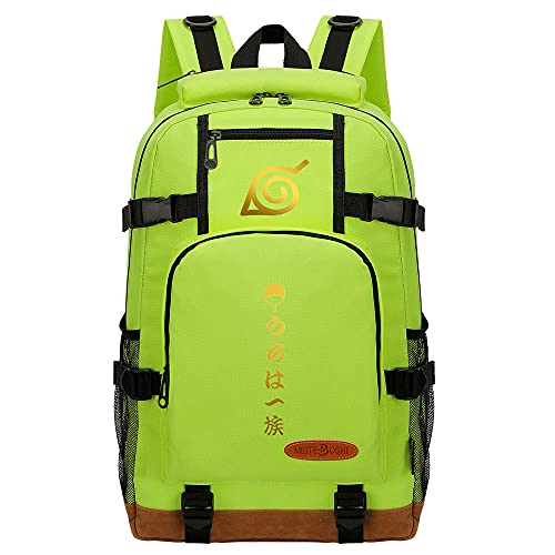 CXWLK Vintage Canvas Laptop Mochila De Viaje Messenger Bandolera Messenger Crossbody Daypack Bolsas Mochila De Gran Capacidad,Naruto,Green,46cmX29cmX13cm