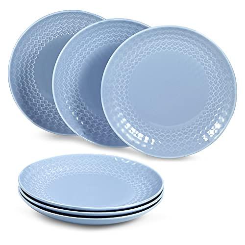 suntun Platos Llanos de Porcelana 6 piezas, 10' Redondos Azul Platos de Cena para 6 Personas, Nueva Porcelana de Hueso Juego de Plato Plano Grande, Vajillas Platos Retro, Diseño Clásico en Relieve