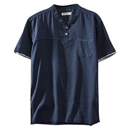 Herren Sommer T-Shirt Poloshirt Kurzarm Einfarbig Basic Bluse Männer Polo Shirt Baumwolle Mischgewebe mit V-Ausschnitt