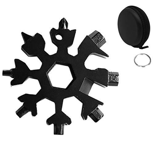 Huker Outil Flocon Neige Outil multifonction en acier inoxydable 18-en-1,portatif Porte-clés Tournevis Ouvre Bouteille Outil Venez avec boîte-cadeau noir (Noir)