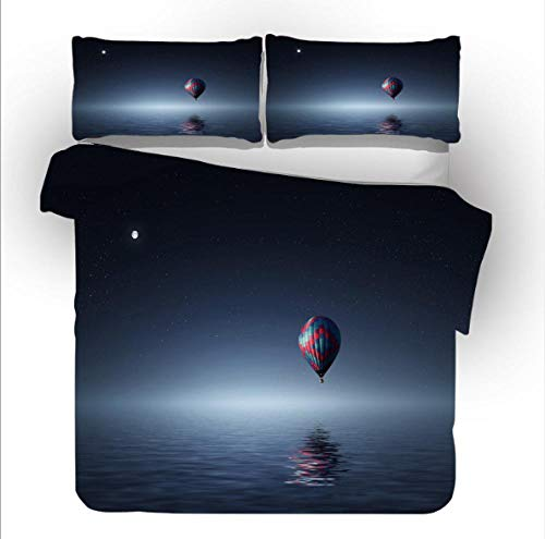 YHHAW Duvet Cover Sets,Ocean and hot air balloon pattern Print,Soft Microfiber duvet sets pillowcase,3 Pieces (1 Duvet Cover + 2 Pillow cases) Bedding Sets-Double 200x200cm