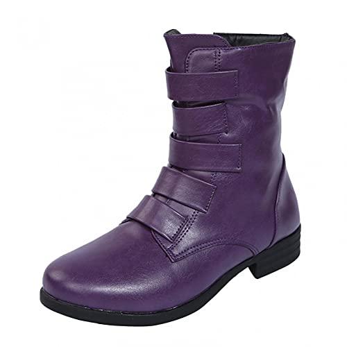 JDGY Botines de mujer con tacón en bloque y cierre de cremallera, estilo retro, botas de media altura, antideslizantes, para exteriores, morado, 37 EU