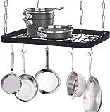 JackCubeDesign Ceiling Mount Grid Pot Pan Rack Hanger Organizer Kitchen Storage Shelf Tray Holder with Utility 8 Hooks(24.4 x 11.8 x 1.2 inches) – :MK397B