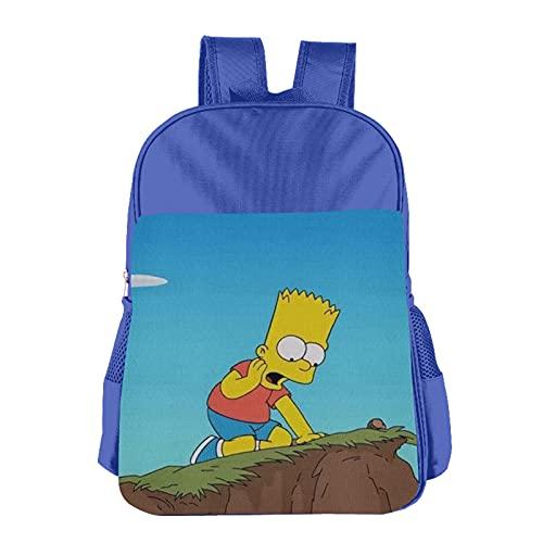 Simpsons - Mochila infantil de poliéster impermeable para niños de 3 a 13 años, azul, Talla única